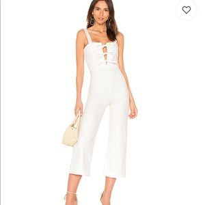 Clayton white jumpsuit with ties